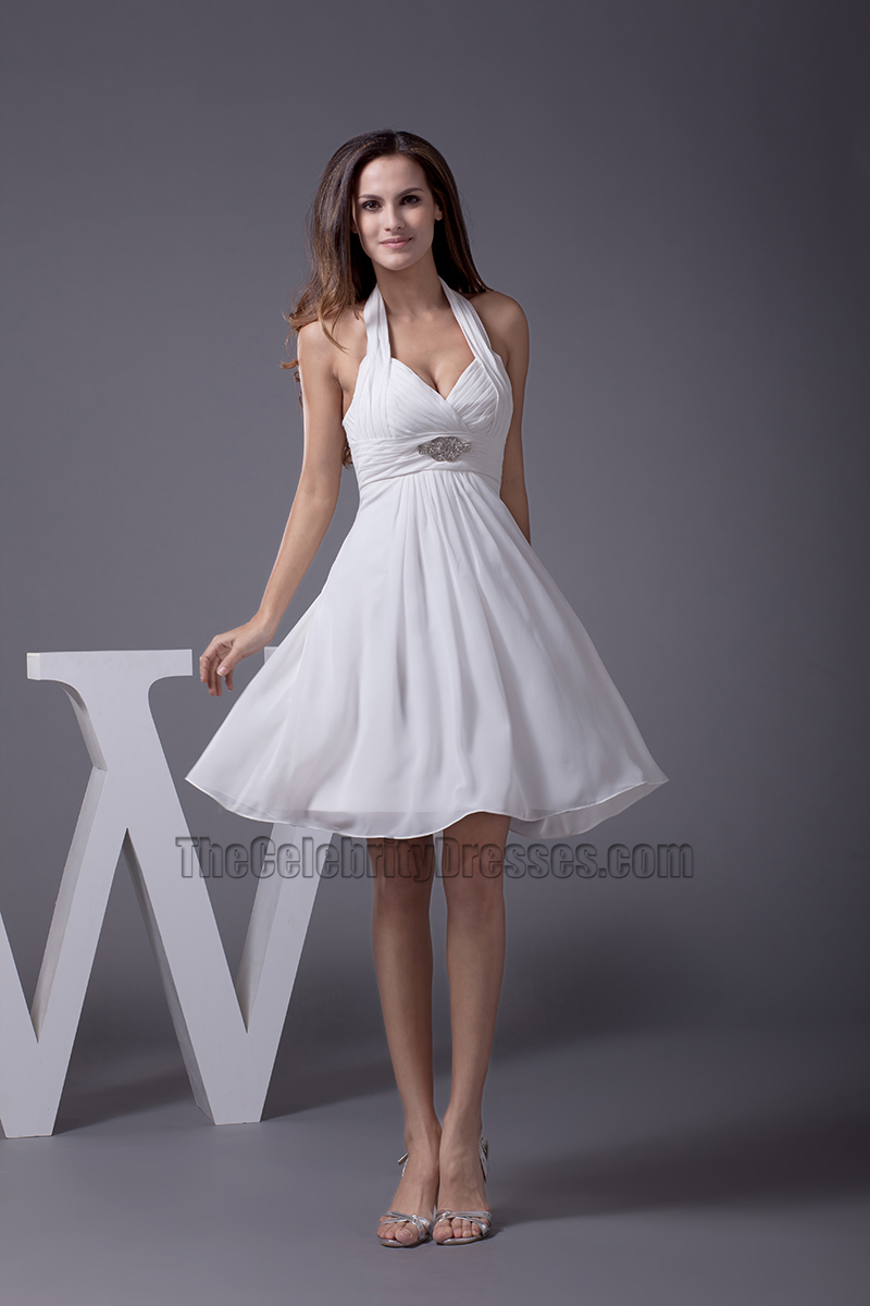Short A Line Halter Chiffon Tail Party Dresses Thecelebritydresses