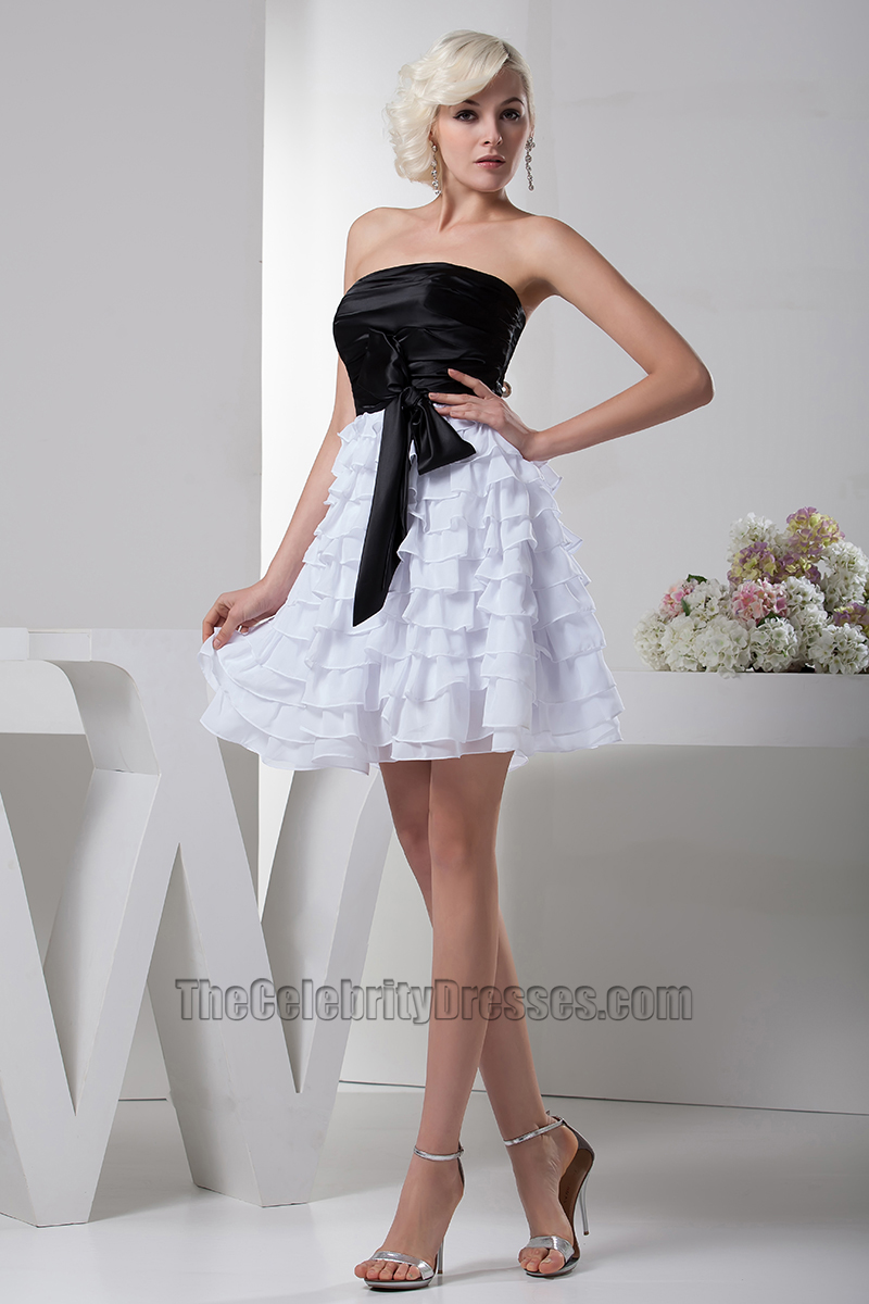 Gorgeous Short A-Line Black And White Party Graduation Dresses ...