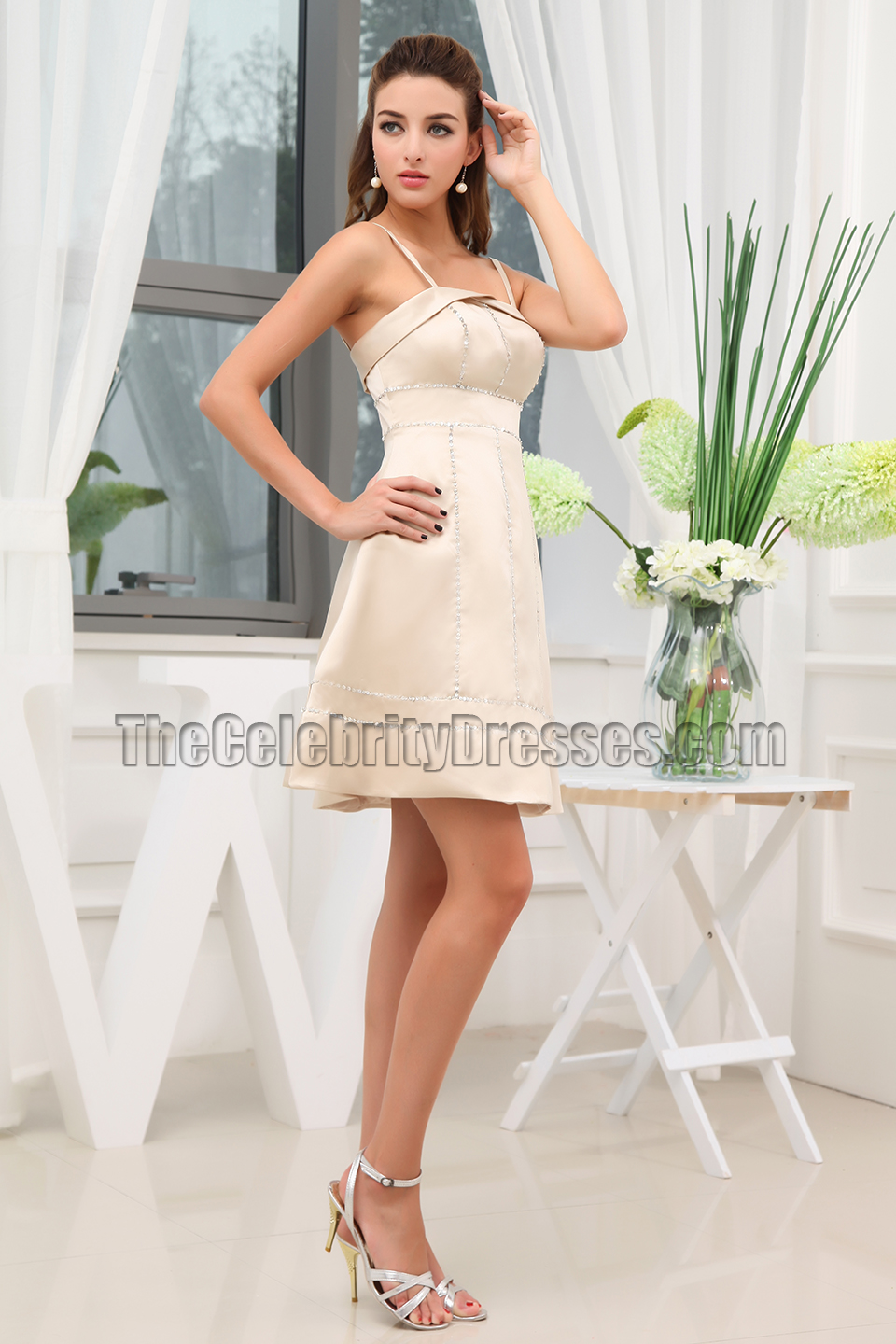 New Style Short Champagne Beaded Cocktail Party Dresses ...