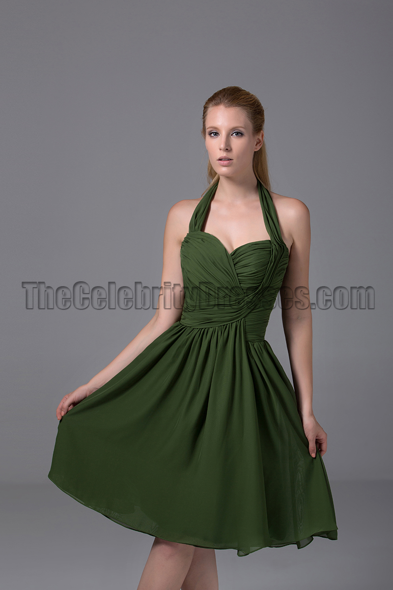 One-shoulder Dark Green Satin Short Cocktail Dress - VQ