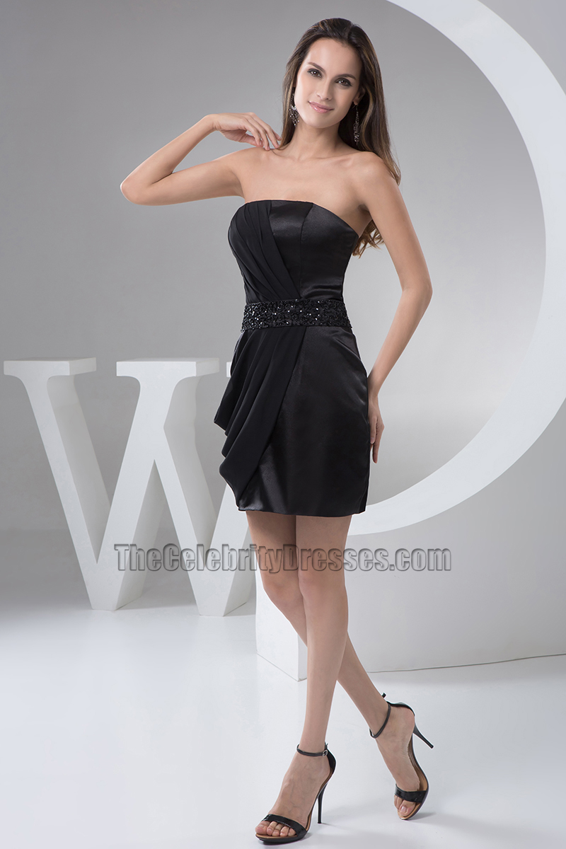 Celebrity Inspired Mini Black Strapless Party Homecoming