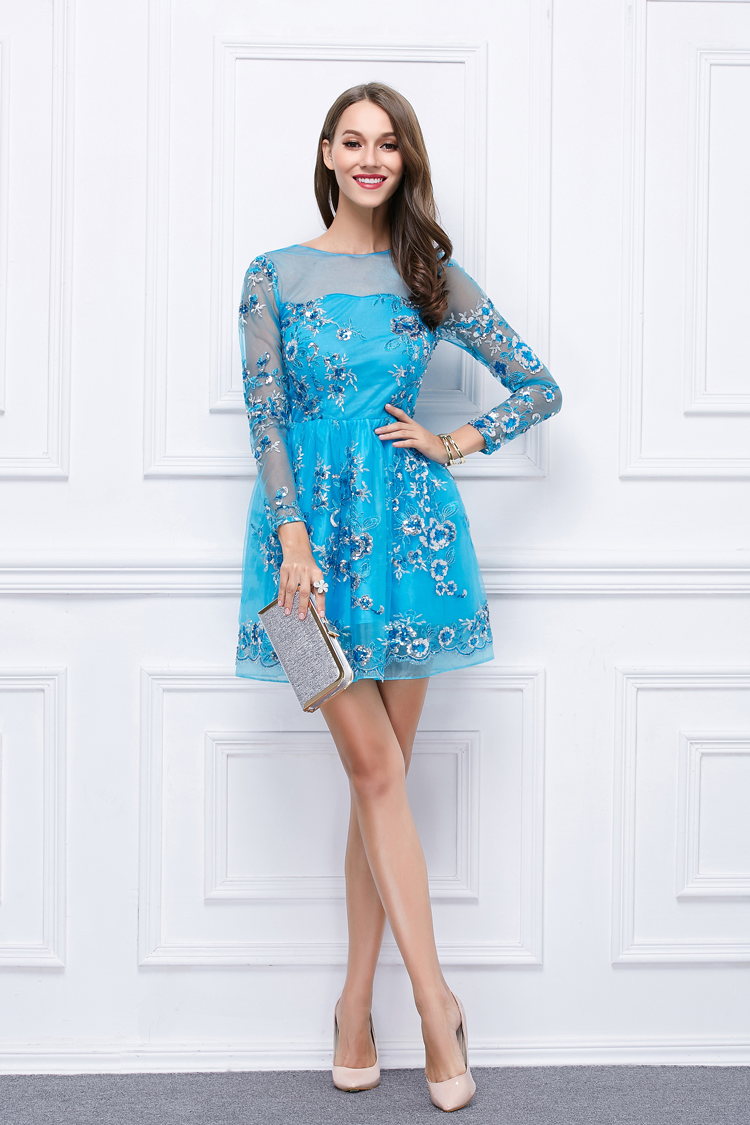 Short Mini Blue Embroidered Long Sleeve Homecoming Party Dresses ...