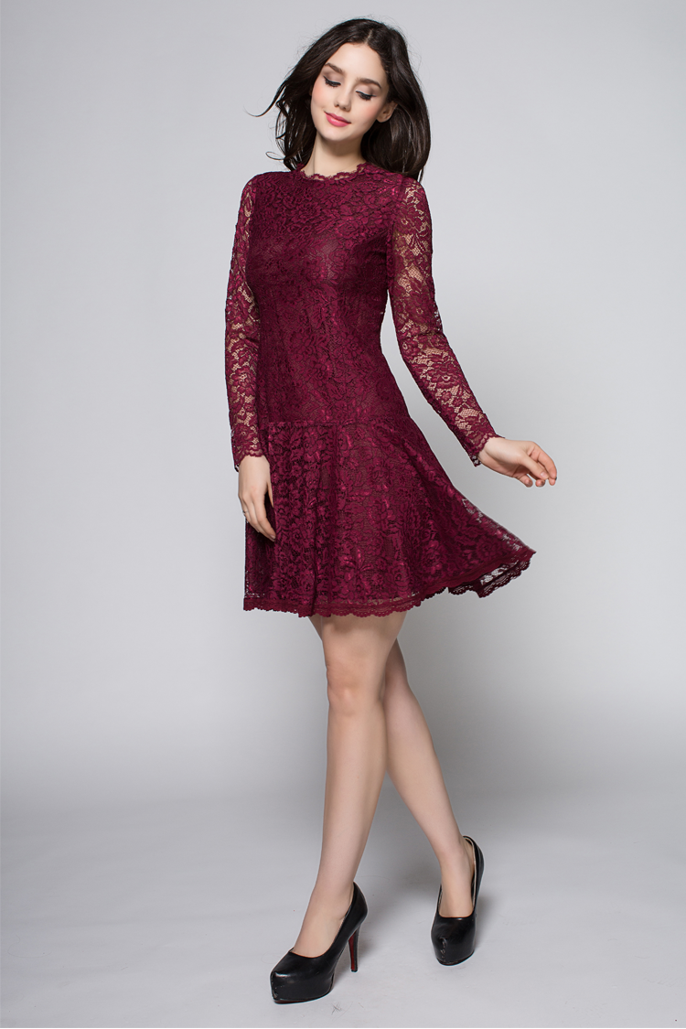 6282dc8f780d Short Mini Burgundy Long Sleeve Lace Party Homecoming Dresses -  TheCelebrityDresses