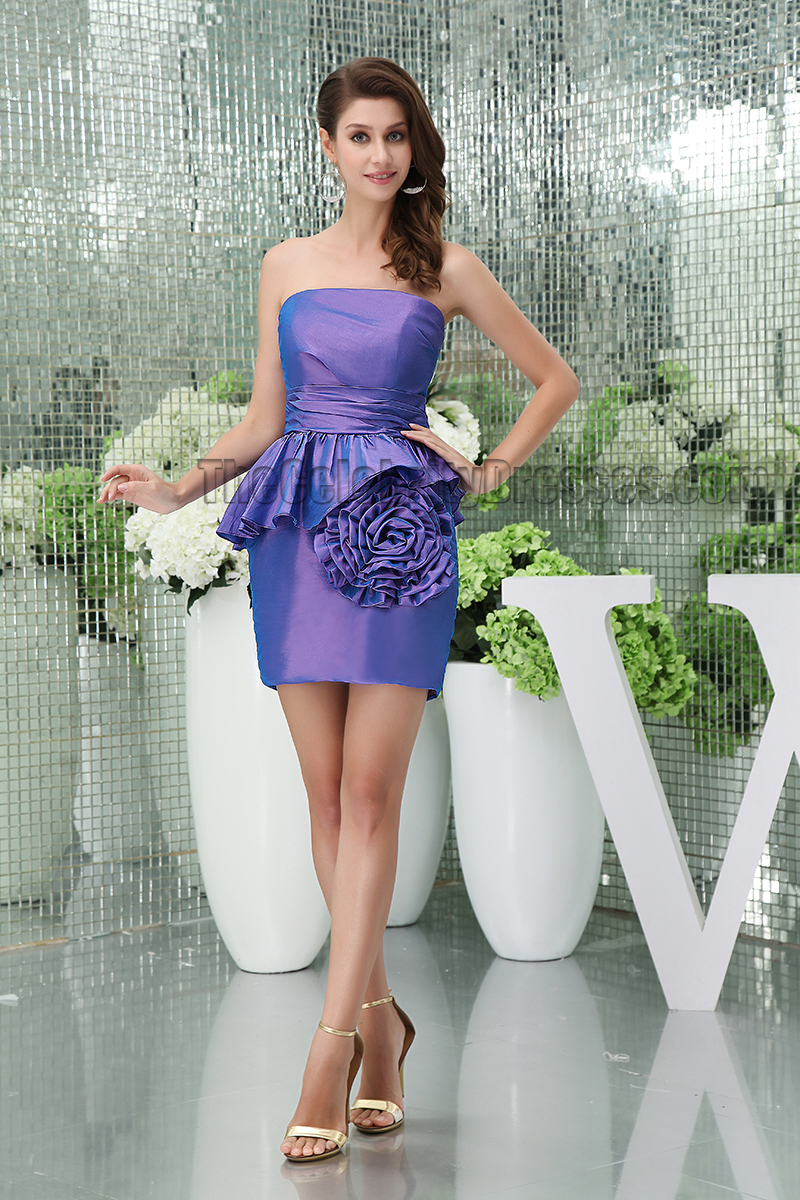 Discount Short Mini Strapless Purple Party Cocktail Dresses - TheCelebrityDresses