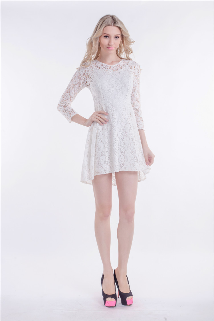 Short/Mini White Lace High Low Party Homecoming Dress - TheCelebrityDresses