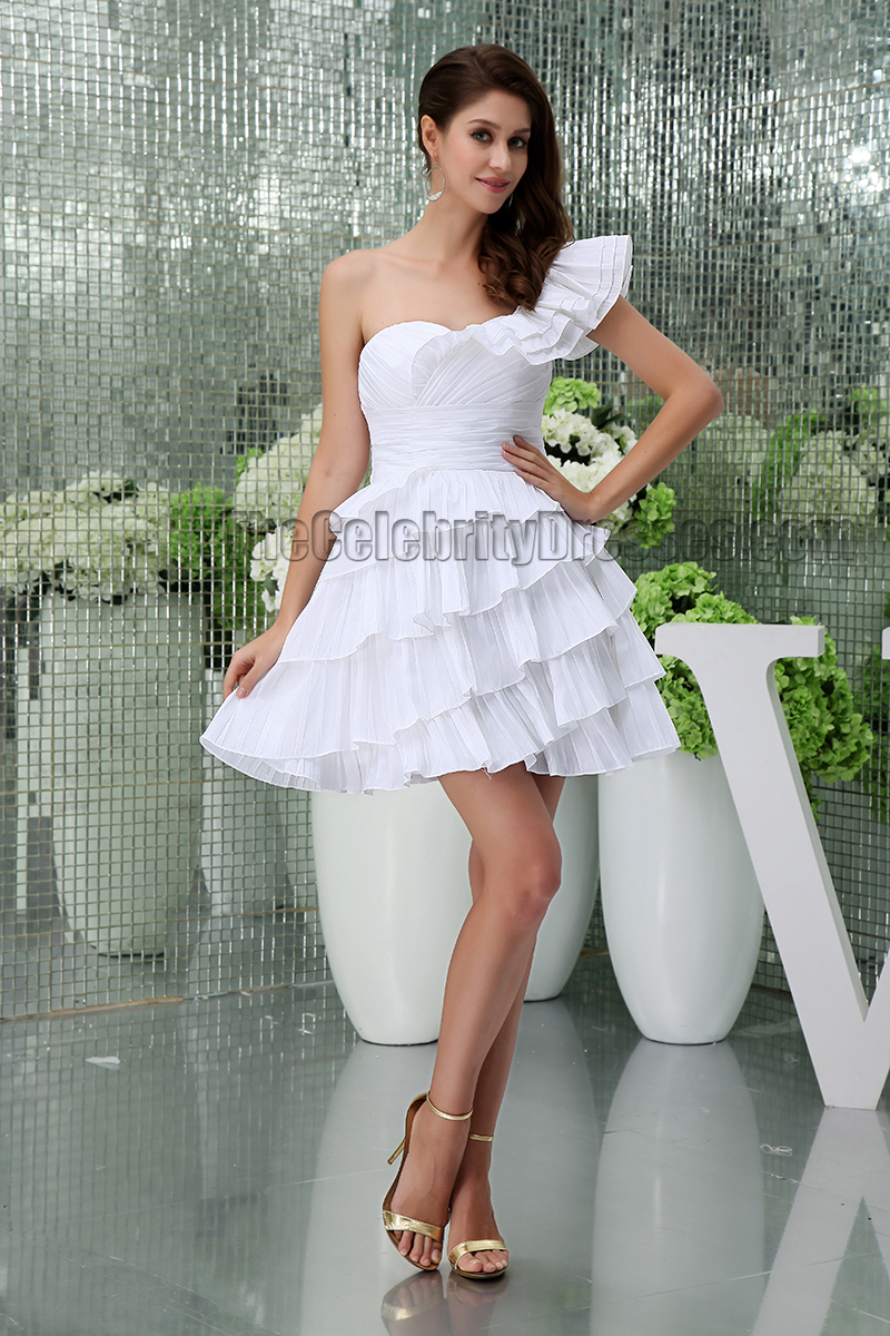 Short Mini White One Shoulder Ruffles Party Homecoming ...