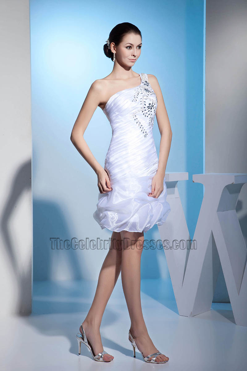 Short One Shoulder Organza Wedding Dress With Beadwork ...
