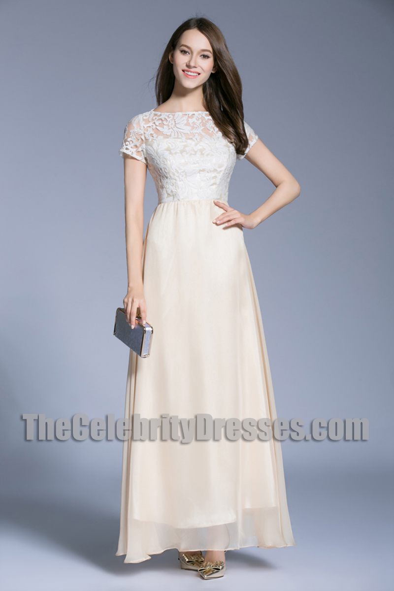Short Sleeves A-line Formal Dress Long Lace Bridesmaid Dresses ...