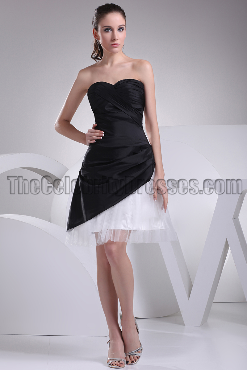 Short Strapless Black And White Homecoming Party Dresses -  TheCelebrityDresses f10732190