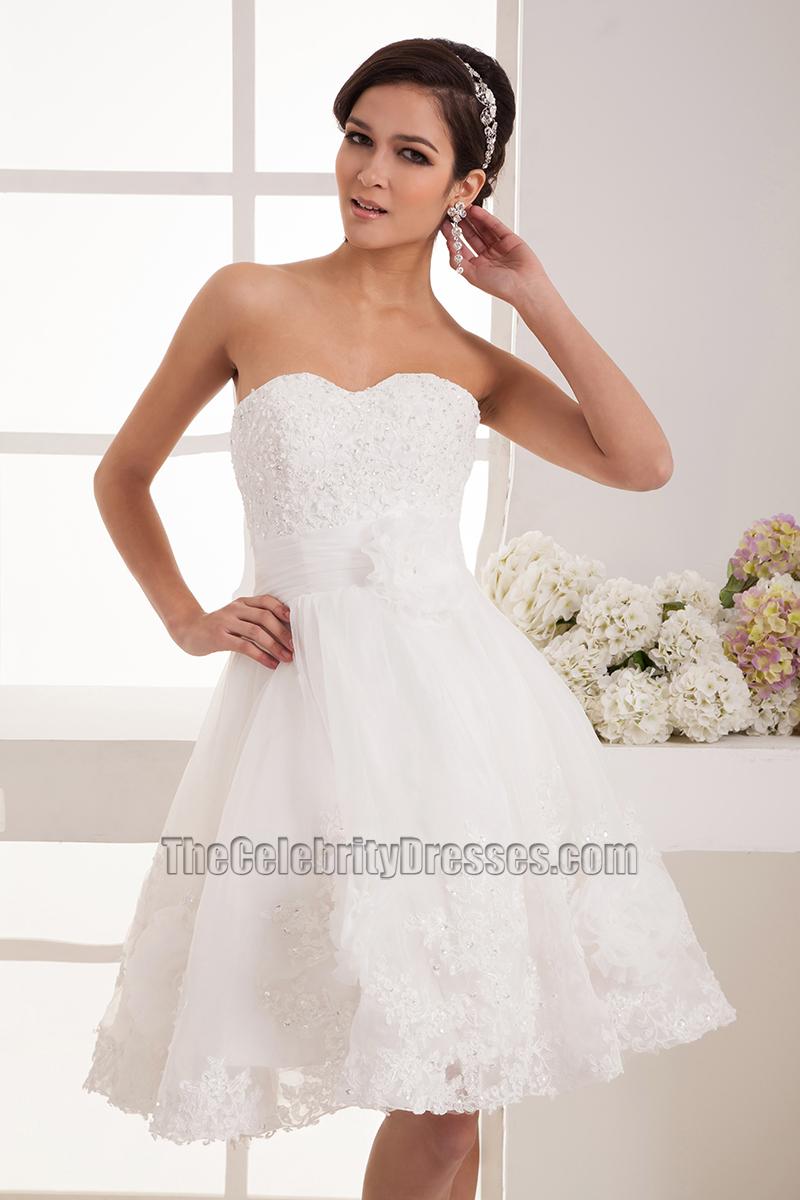 Short Strapless Sweetheart A-Line Organza Wedding Dresses ...
