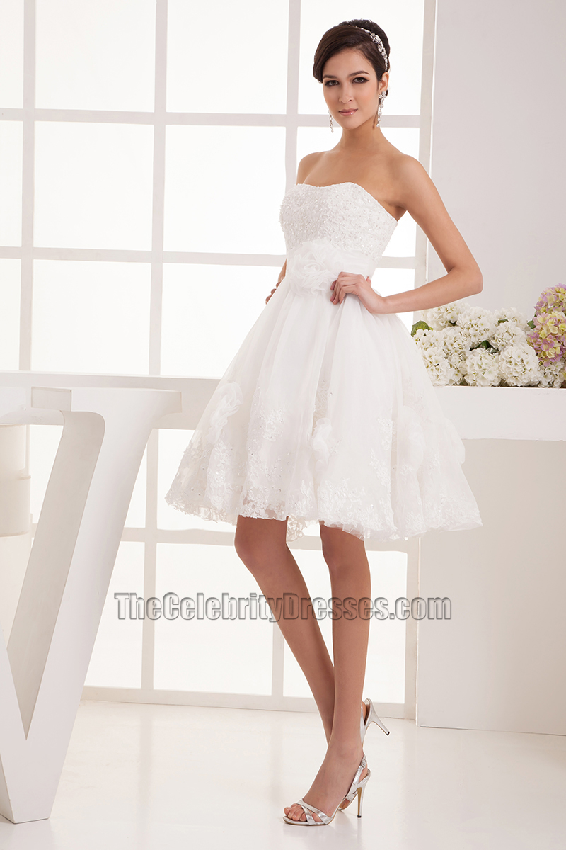 Short Strapless Sweetheart A-Line Organza Wedding Dresses ...