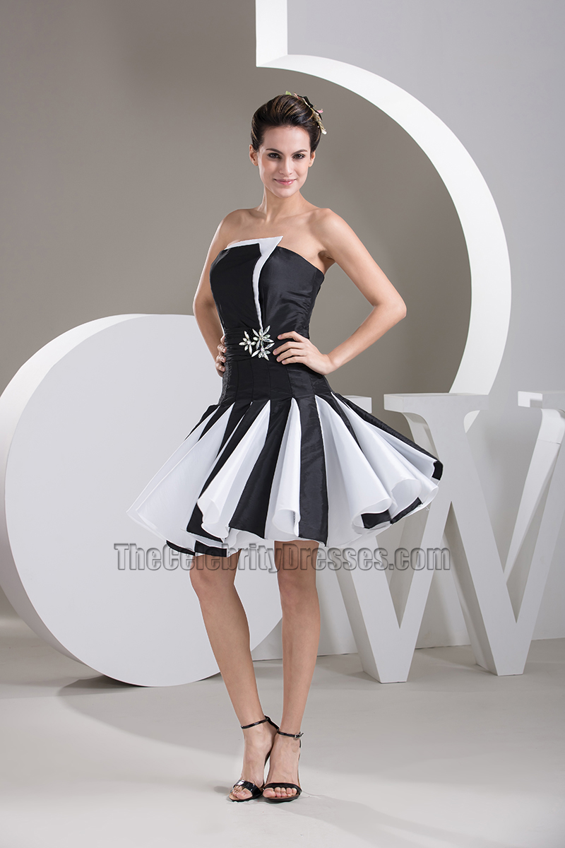 Black and white short cocktail dresses