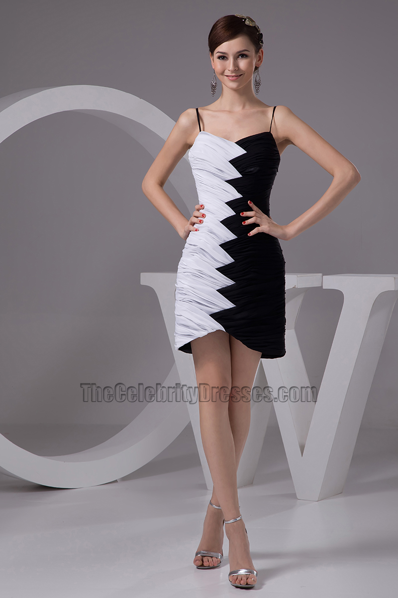 Short White And Black Graduation Party Cocktail Dresses ...