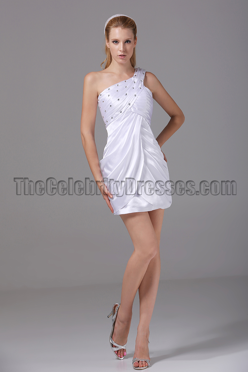 Short White One Shoulder Mini Party Cocktail Dresses ...
