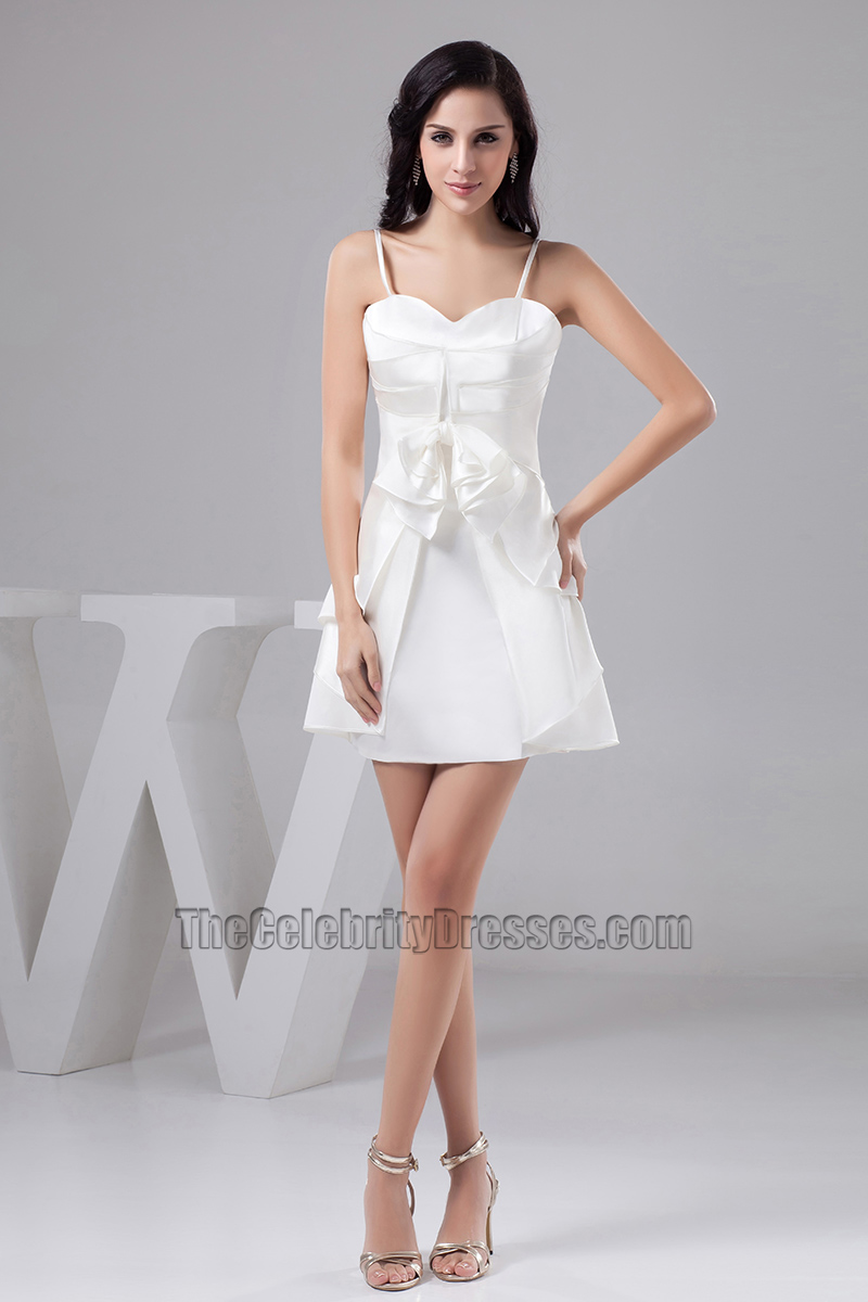 0ca51afde44 Short White Spaghetti Straps Party Homecoming Dresses - TheCelebrityDresses