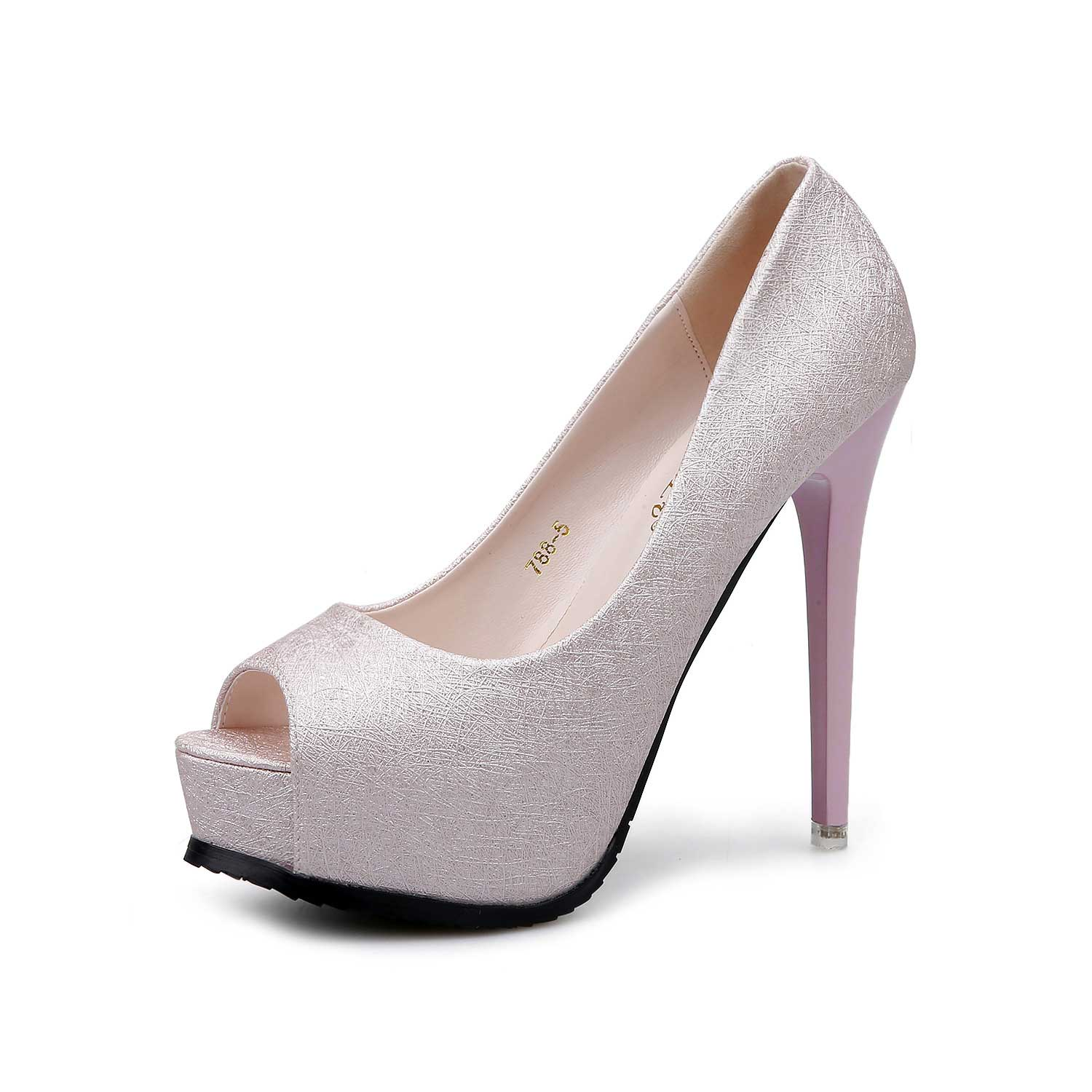 Silver Platform Peep Toe Fish Mouse Prom Shoes Stiletto Heels