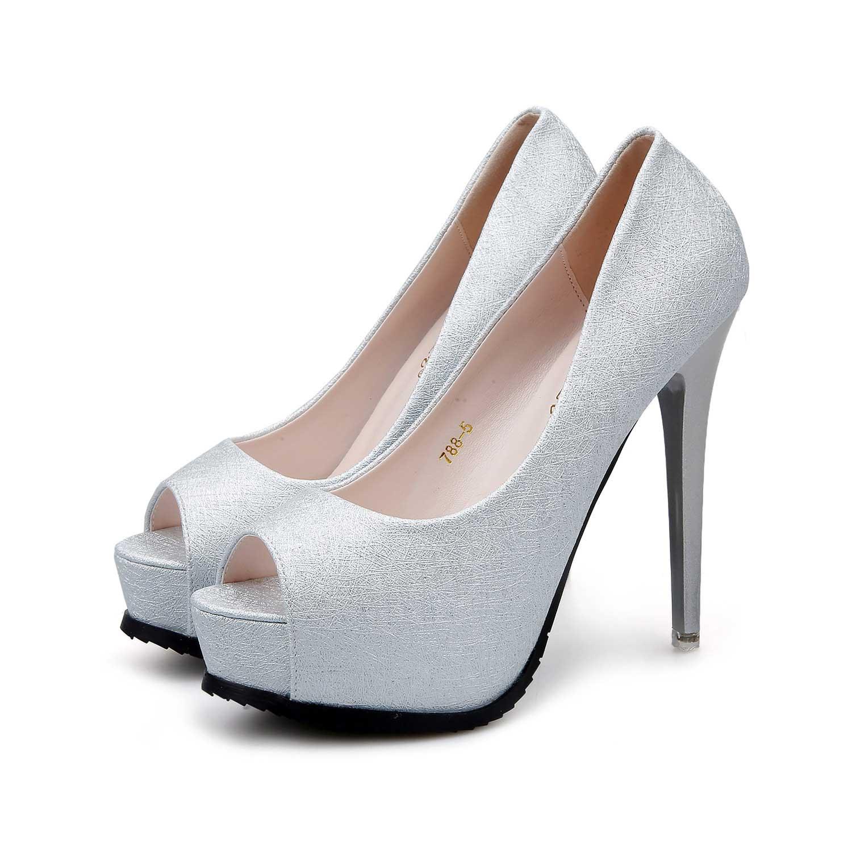 Silver Platform Peep Toe Fish Mouse Prom Shoes Stiletto ...