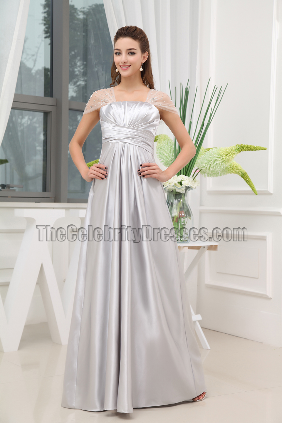 Silver Cap Sleeves Evening Gowns Prom Bridesmaid Dresses ...