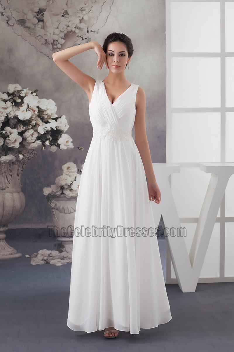 Simple A-Line Floor Length Chiffon V-Neck Wedding Dress ...