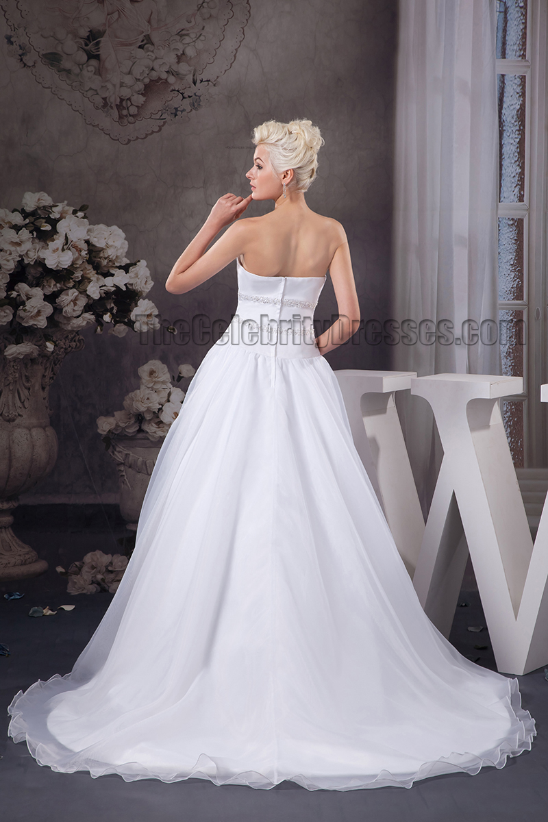 Simple A Line Sweetheart Strapless Beaded Wedding Dresses Thecelebritydresses