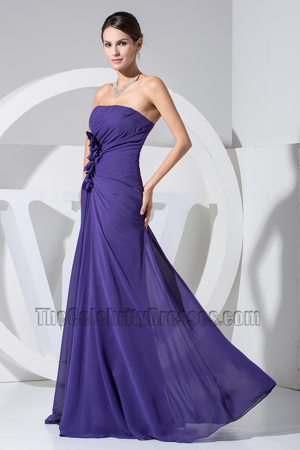 bbac25db509c Simple Strapless A-Line Chiffon Prom Gown Evening Formal Dress -  TheCelebrityDresses