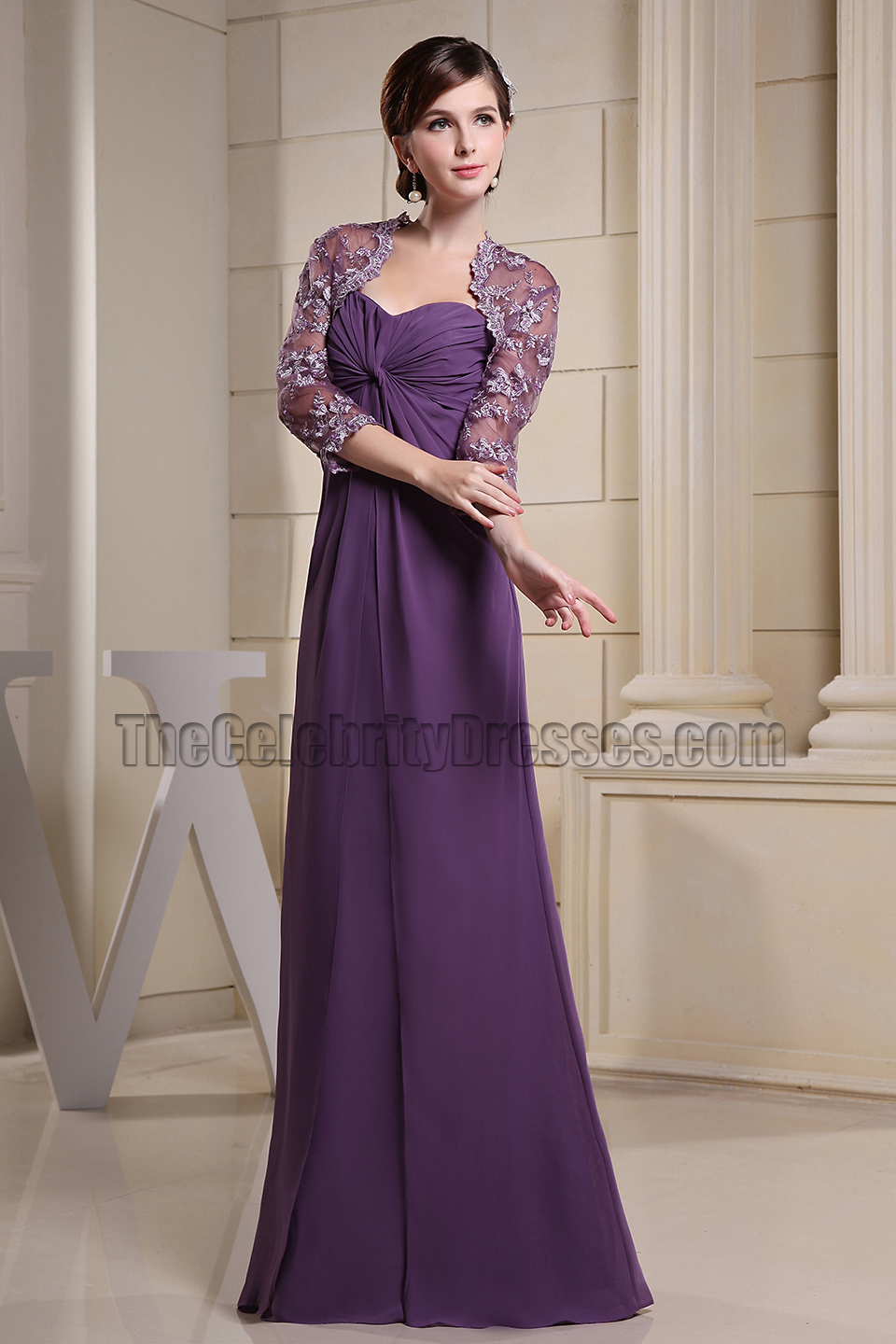 Simple Purple Chiffon Strapless Sweetheart Prom Dress Formal Gown ...