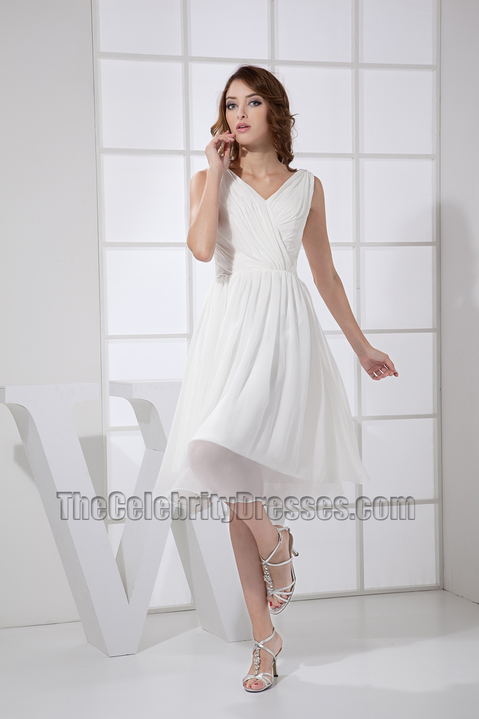 Simple White V Neck A Line Tail Dress Bridesmaid Dresses Thecelebritydresses