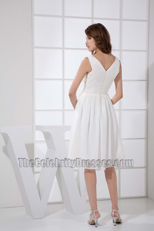 21a2650caed010 Simple White V-neck A-Line Cocktail Dress Bridesmaid Dresses -  TheCelebrityDresses