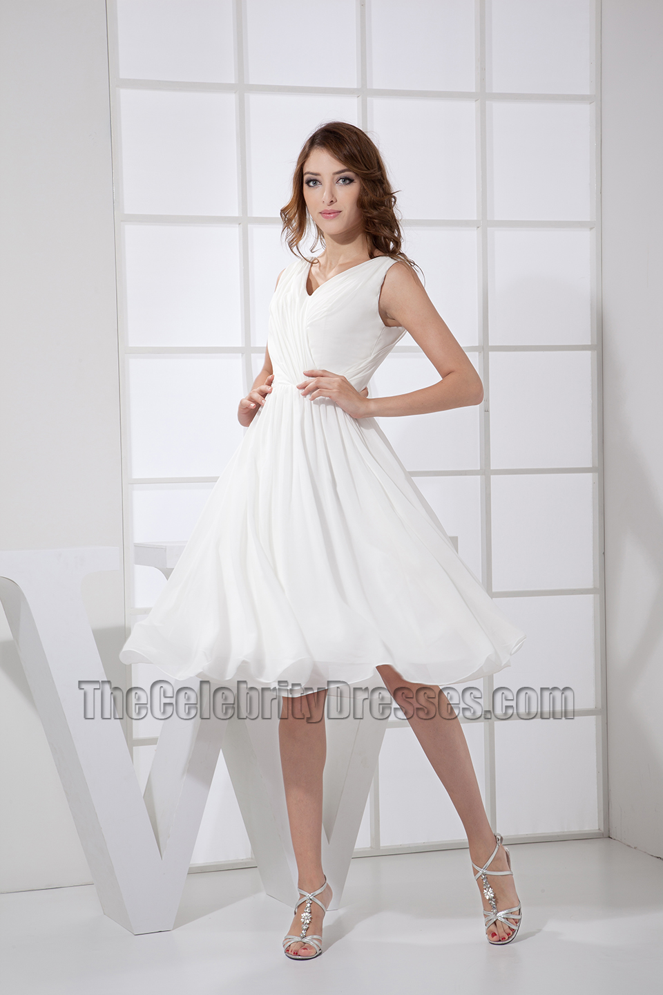 Simple White V-neck A-Line Cocktail Dress Bridesmaid Dresses ...