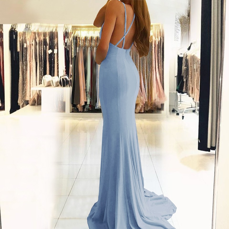 Floor Length Sky Blue High Split Backless Evening Dress Prom Gown ...