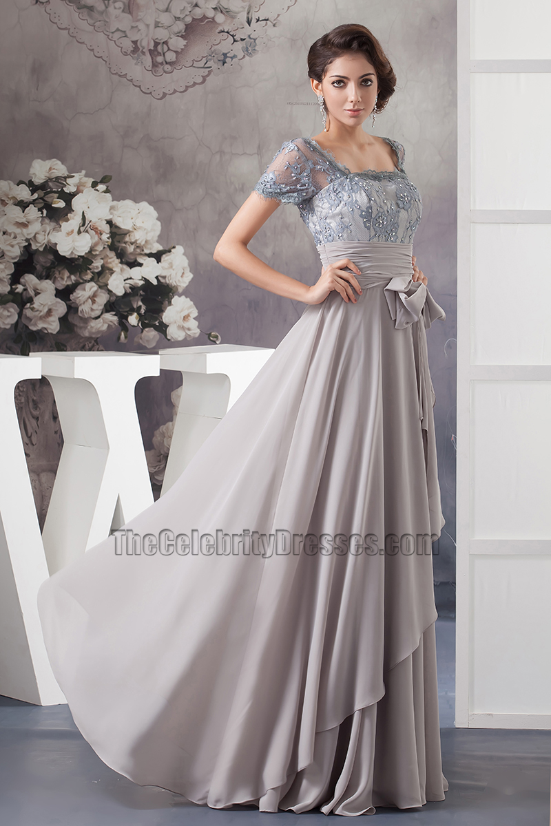 Silver A-Line Square Neckline Formal Gown Prom Dress ...