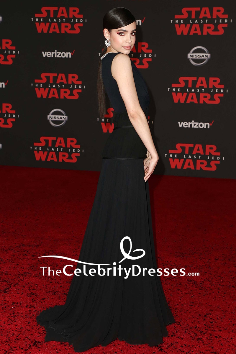 Sofia Carson Black Cut Out Evening Dress Premiere of Star Wars The ...