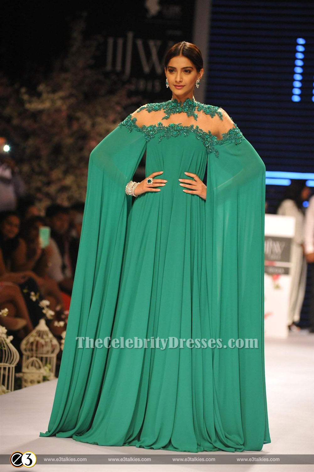 sonam kapoor sexy green backless embroidered evening dress