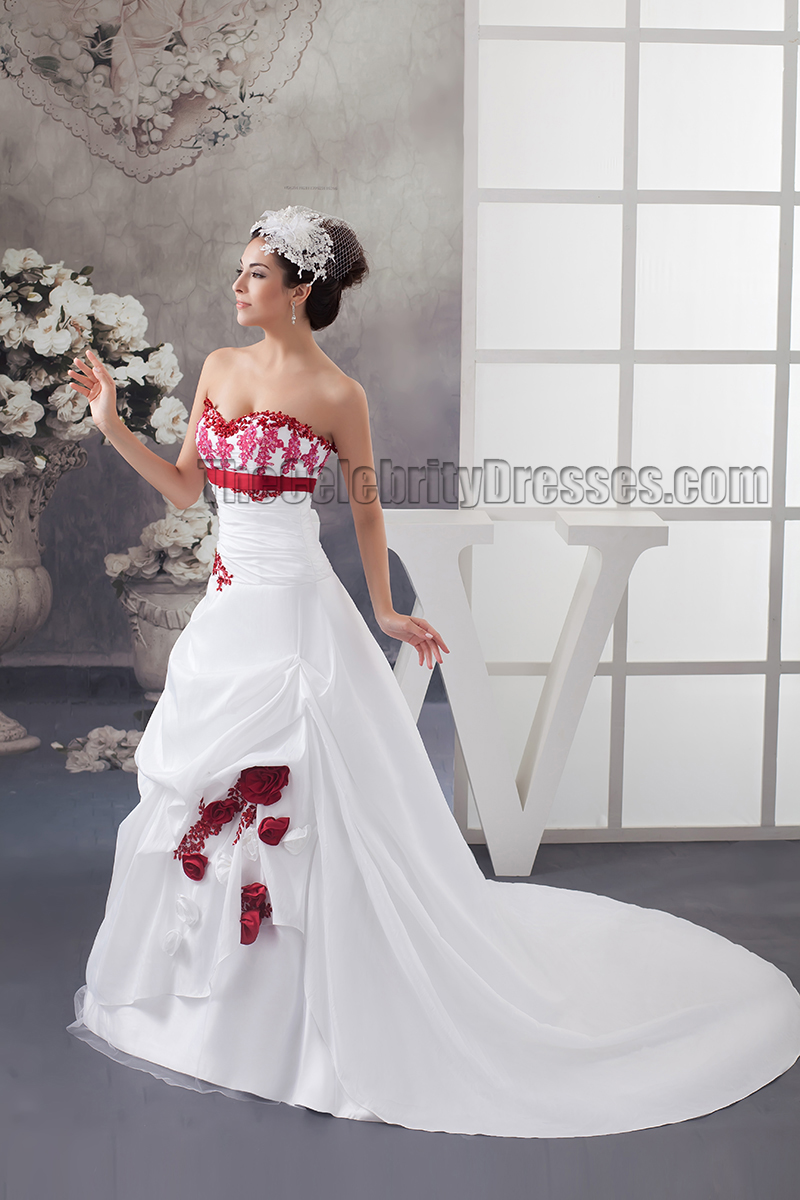 Strapless a line chapel train embroidered wedding dresses for Chapel train wedding dresses