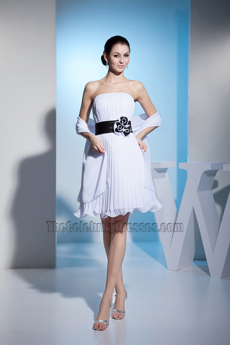 Strapless A-Line Chiffon Short Wedding Dress With A Wrap ...