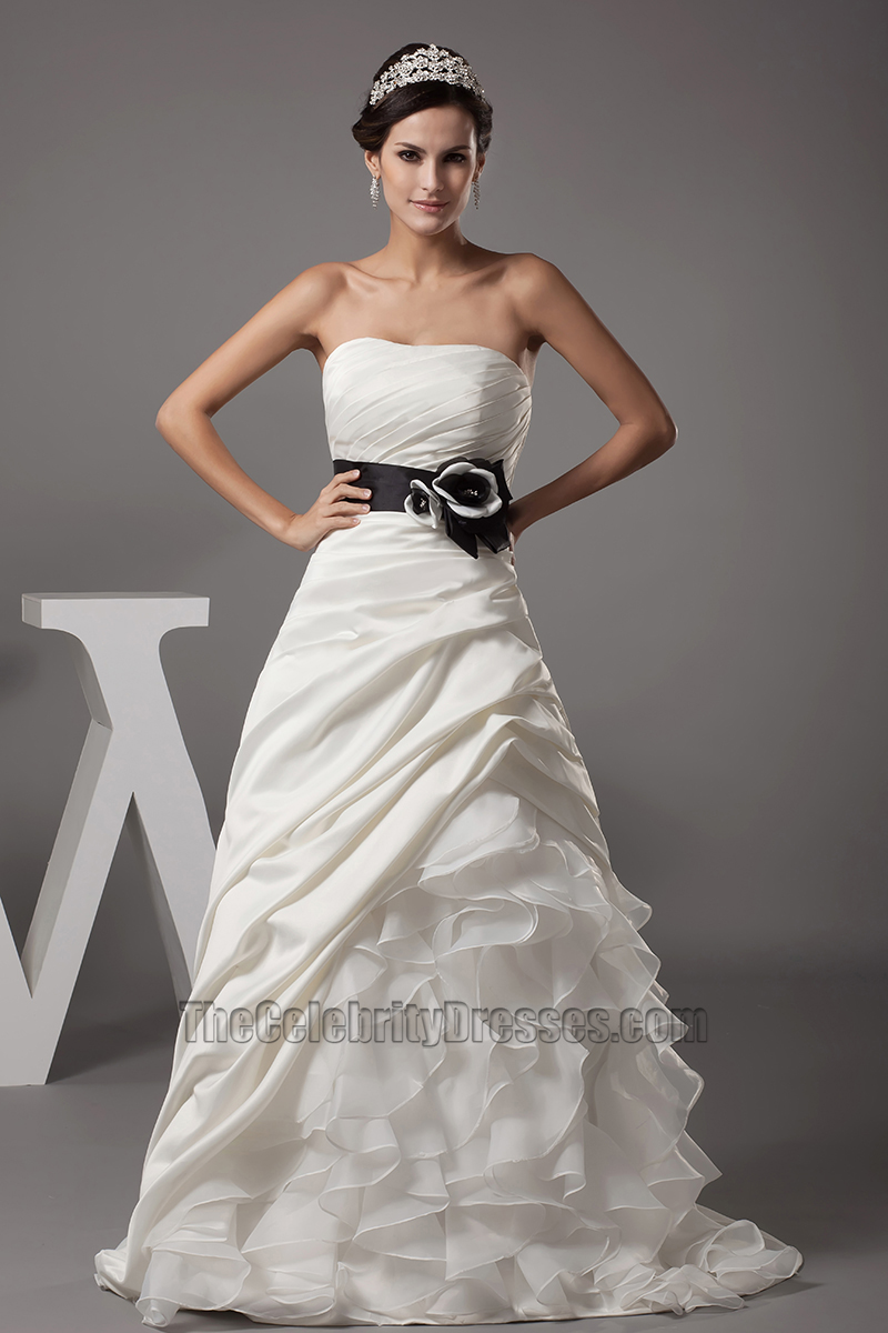Strapless A-Line Organza Wedding Dress Bridal Gown - TheCelebrityDresses
