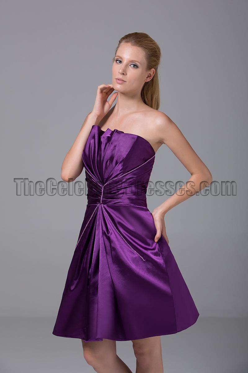 Short Purple Strapless Bridesmaid Graduation Party Dresses ...