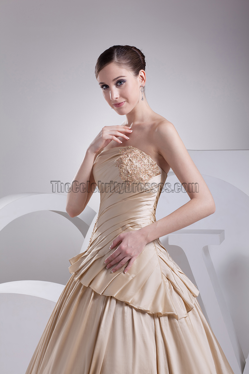 Strapless a line taffeta chapel train wedding dresses for Strapless taffeta wedding dress