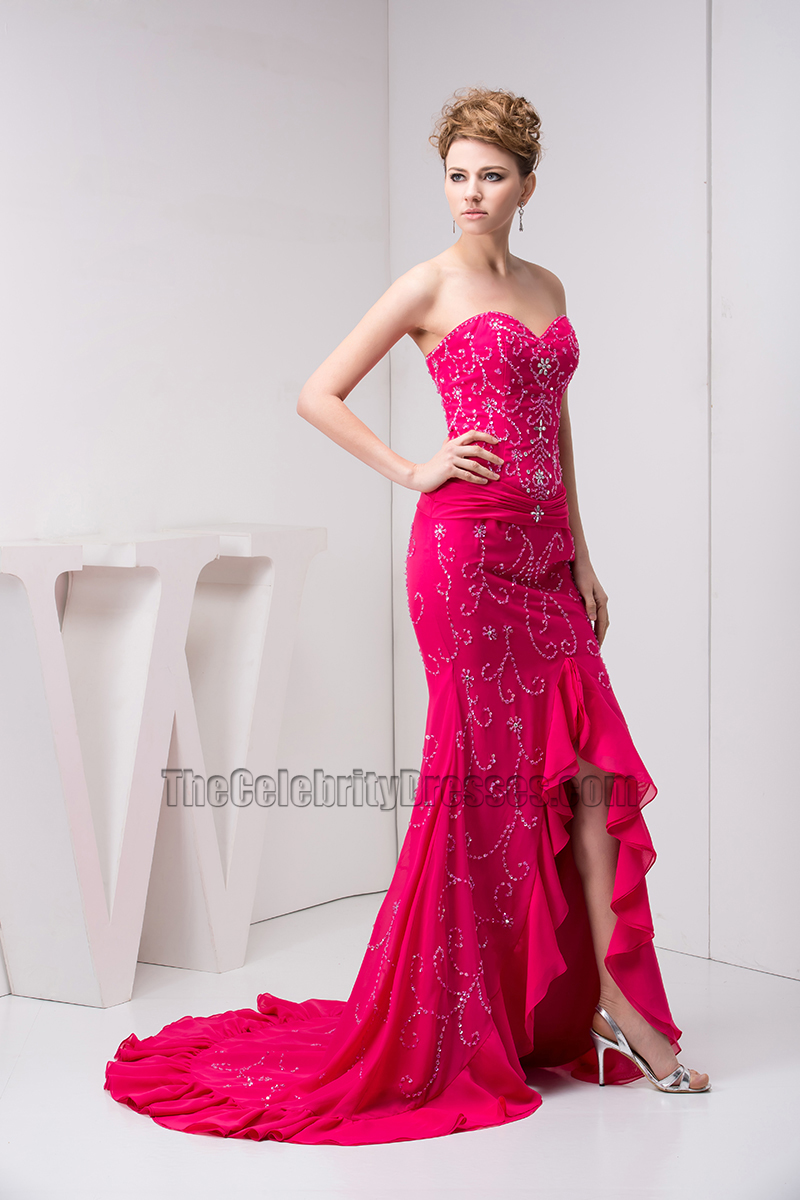 Fuchsia Strapless Formal Gown Evening Prom Dress With Beadwork ...
