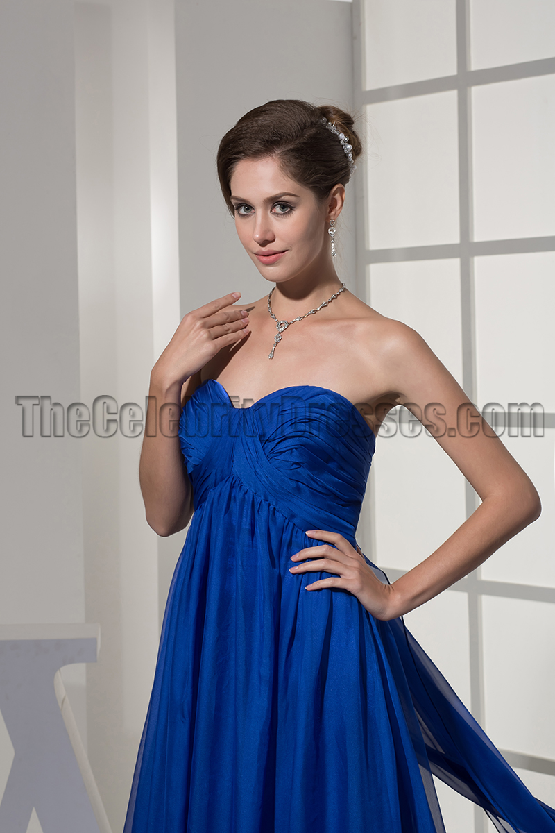 Strapless Royal Blue A-Line Chiffon Formal Dress Evening Gown ...