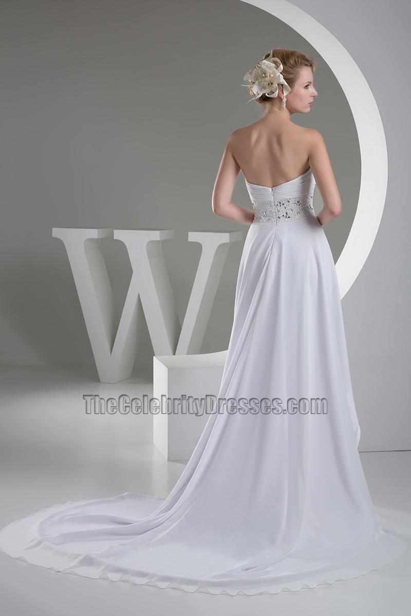 Strapless sweetheart a line chiffon hi low wedding dress for High low sweetheart wedding dress