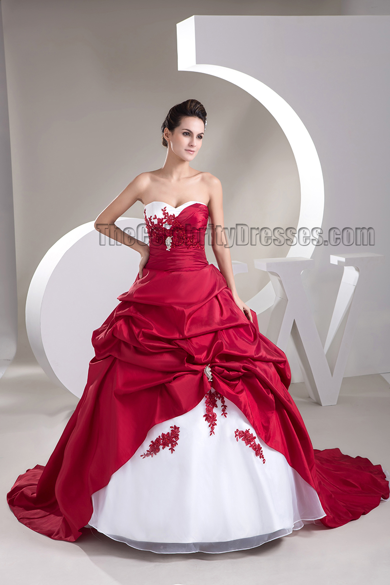 Strapless Sweetheart A-Line White And Burgundy Wedding Dress ...