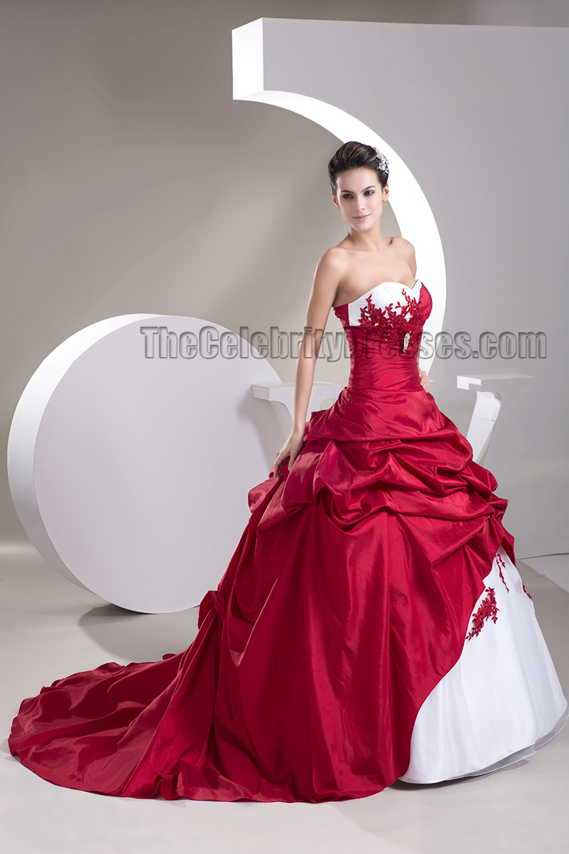 Strapless Sweetheart A Line White And Burgundy Wedding Dress