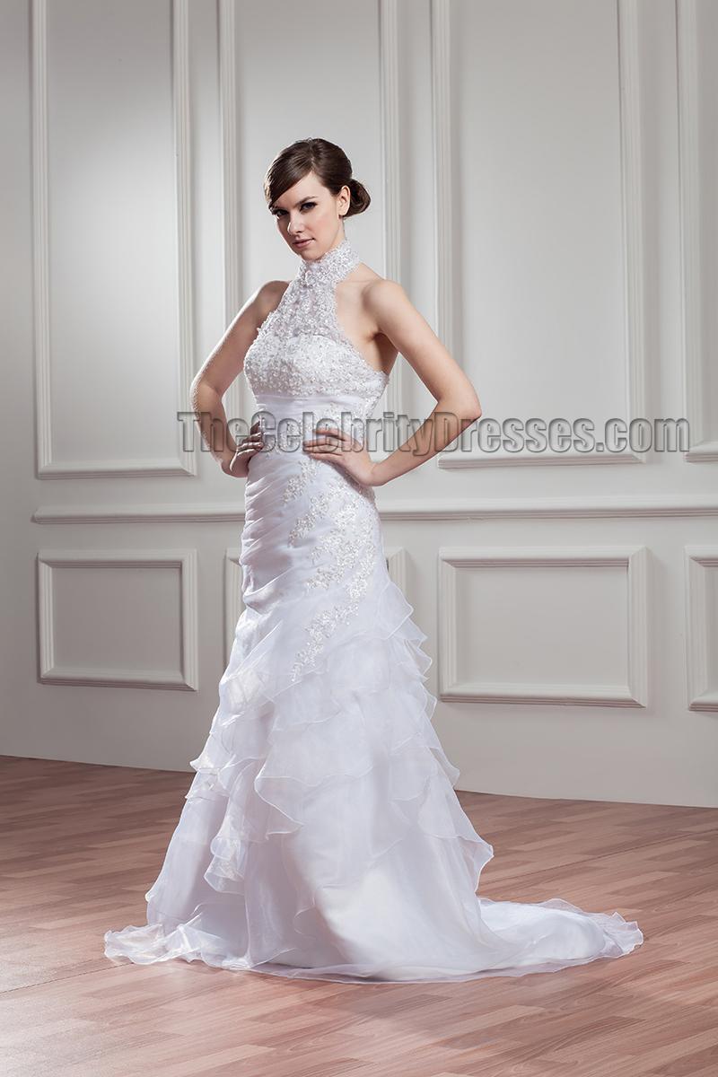Sweep brush train halter beaded wedding dress bridal gown for Sweep train wedding dress