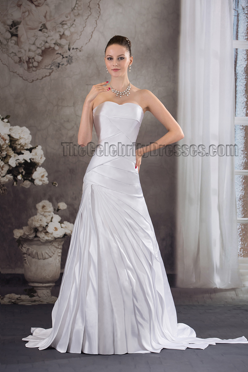 Sweep brush train strapless sweetheart ruffles bridal gown for Strapless wedding dress with ruffles