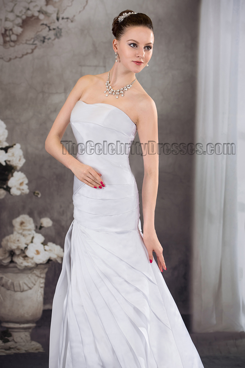 Sweep brush train strapless sweetheart ruffles bridal gown for Sweep train wedding dress
