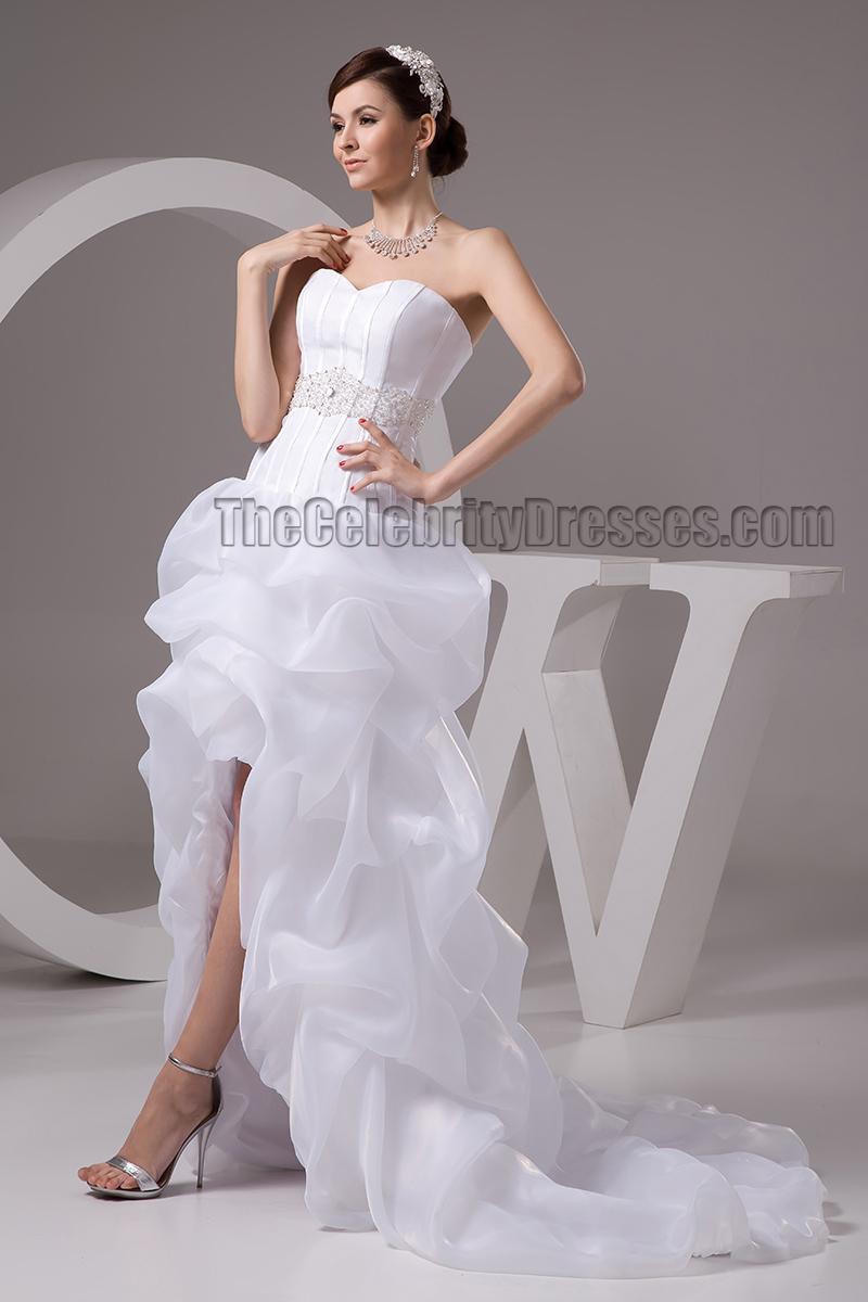 Sweetheart strapless beaded hi low organza wedding dresses for High low sweetheart wedding dress