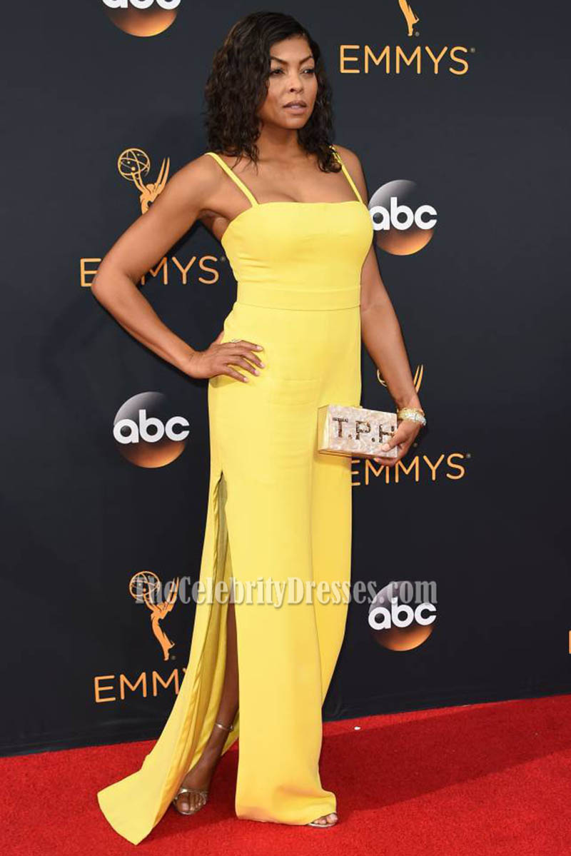 taraji p henson yellow spaghetti straps side slit formal