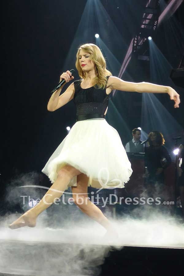 Taylor Swift Black And Ivory Cut Out Fit And Flare Short Dress Red Official Music Video ...