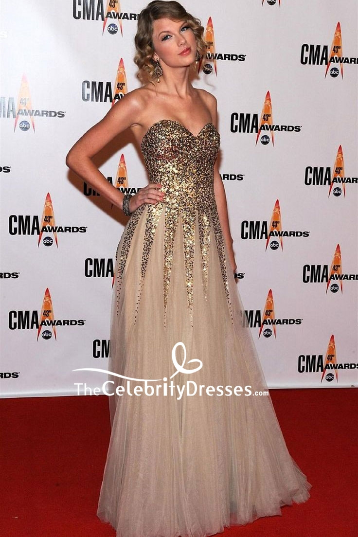 Taylor Swift Gold Sparkly Strapless Evening Dress 2009 Cma Awards Thecelebritydresses